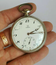 Swiss 1950 OMEGA Silver Plated Mechanical Pocket Watch w Case & Chain