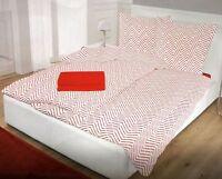 Schlafwohl Fleece Bettwäsche Set 6tlg 135x200cm/80x80cm/100x200cm Zick Zack Rot