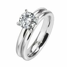 Stainless Steel Wedding Band Promise Solitaire Engagement Ring Cubic Zirconia