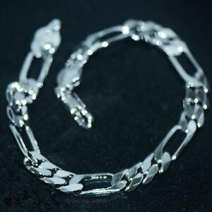 Stainless Steel Women Mens Figaro Chain Cuban Link Bracelet Punk Hip hop Jewelry