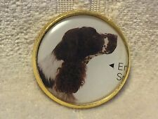 """1"""" Puppy Dog English Setter Bird Dog Gold Metal Shank Sew On Sewing Button Cd31"""