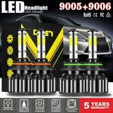 4 Bulbs 9005+9006 120W 32000LM Combo LED Headlight High Low Beam 6000K White Kit