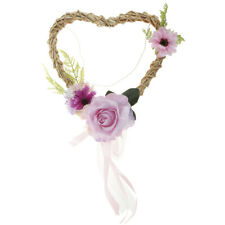Rustic Rattan Heart Silk Flower Wreath Hanging Home Wedding Backdrop Decor