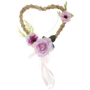 Rustic Rattan Heart Silk Flower Wreath Hanging Home Wedding Backdrop Decor
