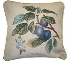 DaDa Bedding Blue Sugar Plum Floral Fruit Square Accent Pillow Cushion Cover