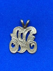 14K Yellow Gold Fancy Letter M Charm or Pendant