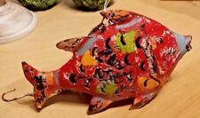 Fisch Metall Windlicht Rot Maritim Deko - Fischfigur /20x6x14 / Tierfigur