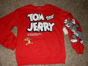 2H NWT Size XS/1 TOM & JERRY Crew Sweatshirt Shirt Top Cat Mouse