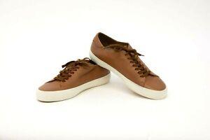 NWOB Brunello Cucinelli Men 100% Leather Metallic Logo Sneakers Sz42/ 8.5US A211