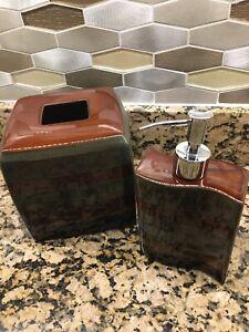 Dark Multicolored Kleenex Box Cover and Soap Dispenser