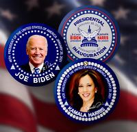 Joe Biden & Kamala Harris Inauguration: 3-Button Set & Signatures-2.25 in