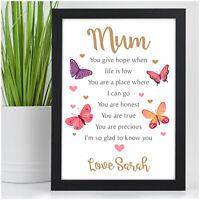 MUM NANNY MUMMY NANNA GRANNY NAN Personalised Birthday POEM Gifts for Her Mum