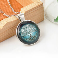 Vintage Tree of Life Cabochon Silver/Bronze Glass Chain Pendant Necklace Gift