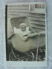 Vintage Photo Postcard Cute Baby Boy in Wicker Stroller Pram 784