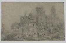 LANGLOIS Dessin original Cathédrale Rouen Petit dessin à la mine de plomb 1832