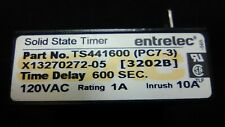 1pc. entrelec TS441600 Solid State Timer, PC7-3, 120VAC, 1A, 600sec, Used