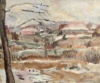 Inger Müller 1898 - 1985 Winter Landscape - Denmark - Expressive - Oil Painting