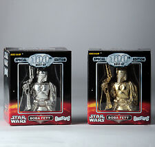 STAR WARS GENTLE GIANT BOBA FETT BUST-UPS Exclusive 100th Silver And Gold Set