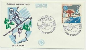Monaco Sc. 671 Skier and Olympic Emblem 10th Winter Olympic Games on 1967 FDC
