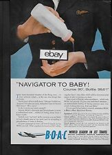 BOAC 1959 COMET 4C F/A NAVIGATOR TO BABY IS FORMULA WARM ENOUGH AD