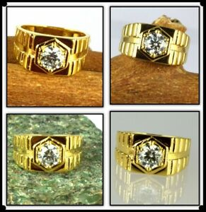 2.69 Ct White Diamond Solitaire Gold Finish Men's Ring-Ideal Engagement Gift