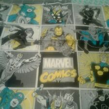 YELLOW BLUE GRAY Marvel Comic Characters Fabric Scrap Quilt Sew
