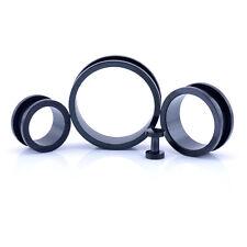 DA AVVITARE 316 Stainless Steel Metallo Piercing Orecchie Spina Di Tunel NERO