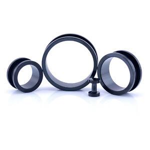 Black SCREW ON Ear Tunnel Flesh Plug Metal Earlet 3mm - 30mm 316 Stainless Steel