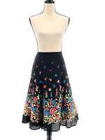 Sag Harbor Womens Midi Skirt Black Plus Size 2X Floral Roses Chiffon Lined