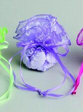 Lot de 6 tulles bourse fleurs violet baptême mariage communion