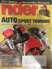 Rider Magazine October 2010 Auto Sport Touring Honda VFR1200F DCT Ducati 796