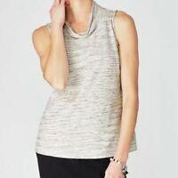 NEW PURE J JILL Pima Cotton Marled Knit Top Sleeveless Cowl Neck Women's size M