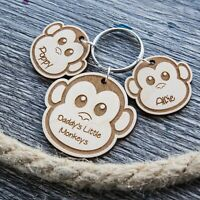 PERSONALISED FATHERS DAY GIFT WOODEN KEYRING MONKEY DAD DADDY BIRTHDAY GIFTS PLY