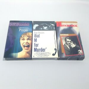 LOT 3 VHS Movies ALFRED HITCHCOCK Notorious Cary Grant PSYCHO Dial M For Murder