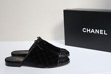 New sz 7.5 / 38 CHANEL Quilted Black Velvet Mule Flat Logo Cap Toe Slip on Shoes