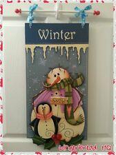 Hand Painted  Snowman & Penguin Wooden Banner, Wall Hanging, Seasonal, Winter