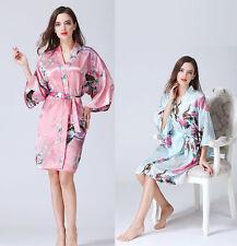 Sexy Women Silk Satin Short Robe Dressing Gown Night Sleepwear Bathrobe Dress