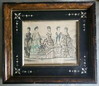 Antique Victorian 1870 Fashion Ad in Eastlake Burlwood Ebony Etched Frame