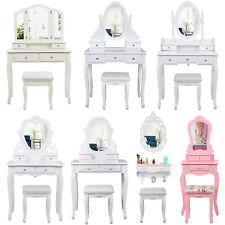 Songmics Coiffeuse Table de Maquillage Blanche avec Tabouret et Miroir meuble