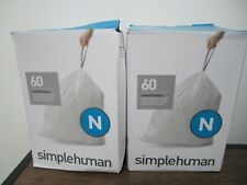 New listing Lot of 2 Boxes simplehuman reg 60-Pack Code N 45-50-Liter Custom-Fit Liners