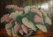 Antique oil painting still life with lilacs signed