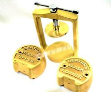 DENTAL LABORATORY LAB SPRING PRESS COMPRESS W/TWO BRASS DENTURE FLASK-Upper +Lo