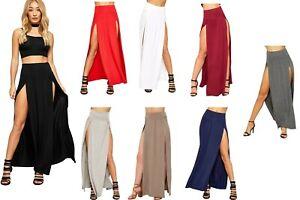 Womens Double Split Maxi Long Skirt Ladies Plain Basic Two Side Slit 8-14