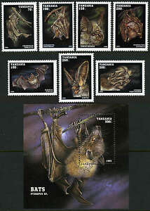 Tanzania 1396-1403, MI 2086-2093, Bl.286, MNH. Bats: Flying Mammals, 1995