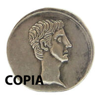 Riproduzione metallo COPIA moneta antica denario Roma 35-34 aC testa scudo