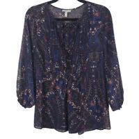 Joie Womens Vandrea Paisley Print Silk Boho Blouse Peasant Top Sheer Size XS