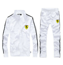 Man Full TrackSuit Jogging Top Bottom sport Suit sets pants strips WHITE SZ:S