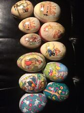 "Lot of 11 vintage paper mache Easter Eggs Germany candy containers 3"" - 5 1/2"""