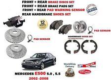 FOR MERCEDES E500 2002-> FRONT + REAR BRAKE DISCS SET + PADS + SHOE + SENSOR KIT