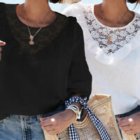 Mode Femme Haut Shirt Chemise Coton court personnalisé Dentelle Manche Longue